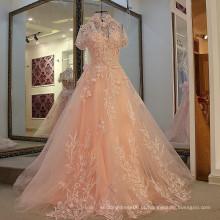 LS24777 vestido longo de cristal sexy ver através de vestido de baile rosa chiffon vestido de noite