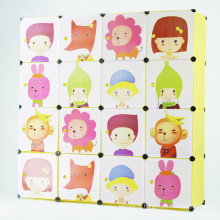 Armoires en armoire de rangement de dessin animé en plastique pour enfants (ZH0010-2)