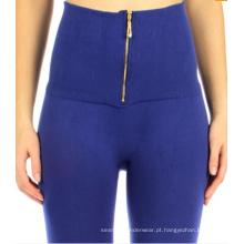 Senhoras da cintura alta sem costura Zipper velo Leggings