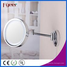 Espejo de maquillaje de latón plegable lateral de Fyeer con luz LED