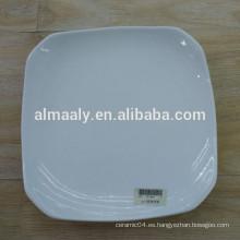 Hot selling hotel dinner plate forma cuadrada super blanco