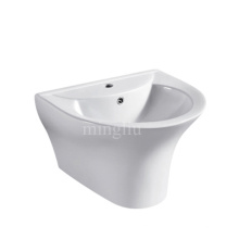 simple new design one piece ceramic wall hung basin