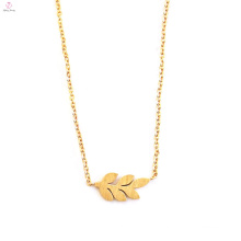 Pendant Stainless Steel Brushed Leaf Charm Necklace