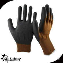 13 gauge knitted nylon & spandex & nappy acrylic liner coated black high-technology foam nitrile gloves