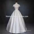 Lindo laço manga curta organz saia barato por atacado modesto vestido de noiva