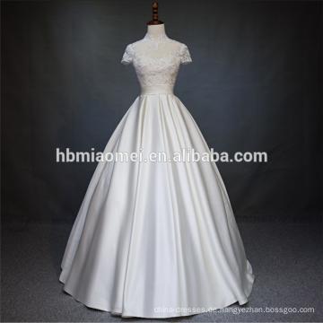 Schöne Spitze Kurzarm Organz Rock billig Großhandel bescheiden Hochzeitskleid