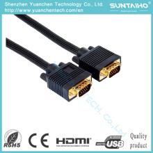 Chapado en oro Plug HD 15pins macho a macho Cable VGA