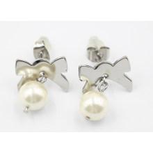 Joyería de moda 316L de acero inoxidable y pendientes de perlas