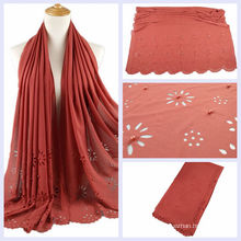 New hot girls high quality pearl laser cut flower bubble chiffon scarf plain muslim hijab cap with beads