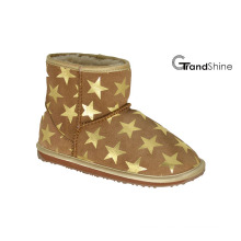 Kid′s Cow Suede with Metallic Printing Mini Boot