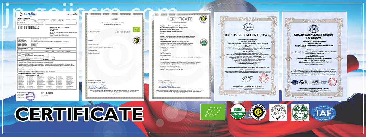 Pure Plump Goji Berries certificate