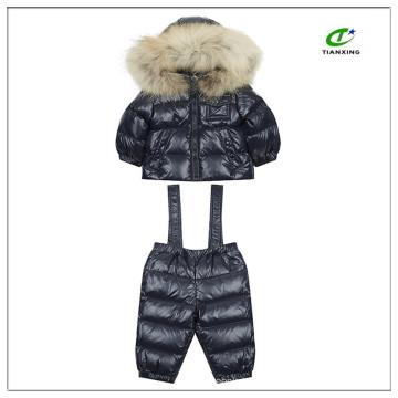 Nylon abajo acolchado niños traje de nieve de dos piezas