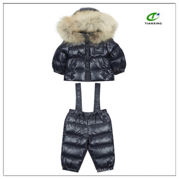 Nylon down padded kids two-piece snow suit