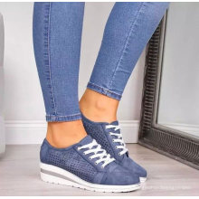 Superstarer New Style Breathable Mesh Running Outdoor Casual Shoes Lace up Women Wedge Shoes