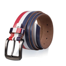 Printing stripe genuine leather belt