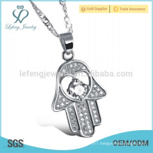 Crystal hamsa silver necklace,fatima hand jewelry
