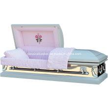 Espejo rosa 18 blanca ataúd de acero de calibre