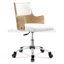 height Adjustable white pu woodend conference chair with chrome base