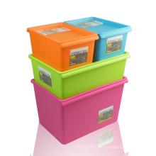 HYYX Cajas de almacenamiento móviles apilables de plástico reutilizable al por mayor duraderas con tapas adjuntas