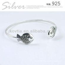Lovely fish shape bangle girls friendship sterling silver bracelet