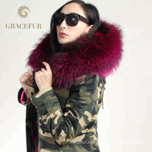 High Quality real raccoon fur hood parka jacket with fur lining winter