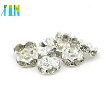 Hohe Qualität Silber Rondelle gewellte Spacer Perlen IA 0201 Silber Überzug Strass Spacer Perlen in Groß