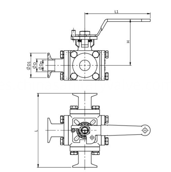 DIN Sanitary full bore 3 way ball valve clamped