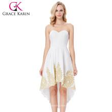 Grace Karin Strapless Sweetheart Alto-Bajo Appliqued Flannelette Vestido de Homenaje Blanco GK000136-2