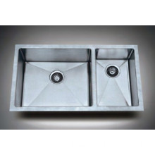 Stainless Steel Square Undermount Double Bowl Kitchen Sink