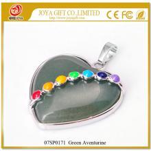 Семь чакр драгоценный зеленый авантюрин сердца кулон