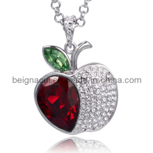 Sw Elements Crystal Light Siam e Peridot Cor Apple Shape Colar