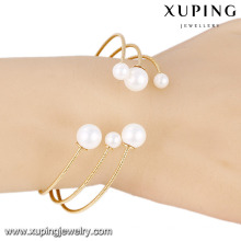 51548- Xuping Factory Wholesale Price Alloy Pearl Jewelry Gold Plated Cuff Bangle