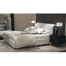 Casa de estilo pós-moderno móveis quarto couro cama macia (LS-412)