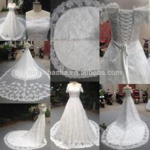 Real 2014 Off-Shoulder Short Sleeve Beaded Lace-up Lace Vestido de vestidos de noiva com vestido de casamento com cauda extensa e aplicada longa NB0862