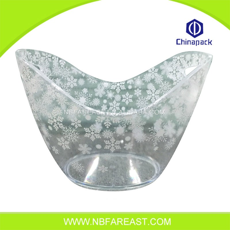 Unique shaple plastic ice bucket emboss