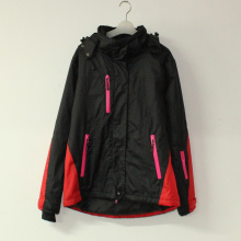 Black/Red Seam Taped Waterproof Padded Polyester Pongee Jacket with for Adult