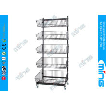 Black Powder Coated Wire Display Stands With 5 Basket For Supermarket
