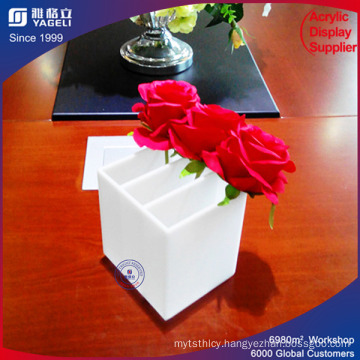 White 3 Dividers Plexiglass Acrylic Flower Box with Lid