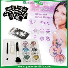 Getbetterlife 2014 Hot Sale Temporary Glitter tattoo 6Colors 10Stencils Best Glitter Tattoo Kit