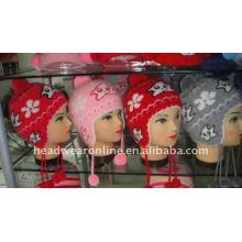 Chapeaux Bonnet Jacquard avec oreille plate et pompon