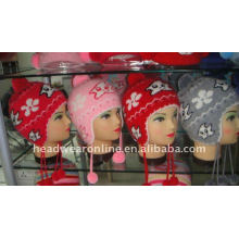 kid jacquard beanie hats with ear flat and pompon