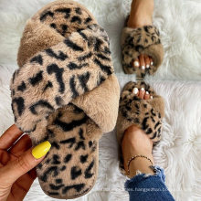 Hot Sellings Fluffy Leopard Crisscross Peep Toe Slippers Inside Cotton Slippers and Plush Shoes