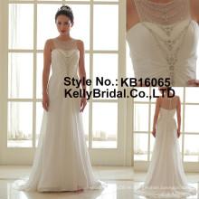 2017 neues Produkt elegantes Chiffon- sleeveless gerade weißes Hochzeitskleidrock
