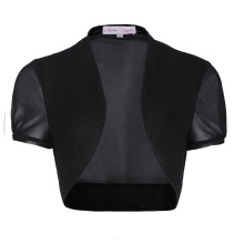 Belle Poque Women's Short Sleeve Cropped Short Black Chiffon Bolero Shrug BP000218-1
