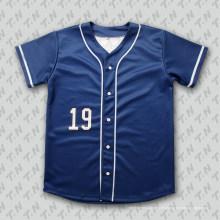 Camiseta de béisbol azul profundo de encargo de Sublimaiton con el botón completo