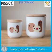 Cerâmica branca barata redonda e bambu Cookie Jar