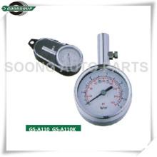 Baixo Stem Mini Metal Dial Medidor de Pneu com válvula de liberação de ar de chapeamento de cromo