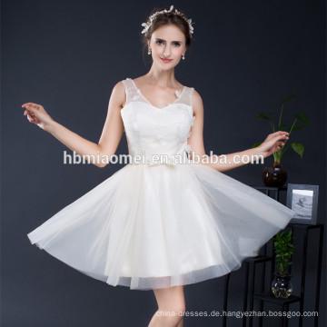 Einzigartige kurze Tüll V-Ausschnitt Brautjungfer passende Kleidung Vestidos de Fiesta Abendkleid