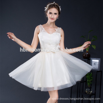 Unique short tulle v-neck bridesmaid matching clothing vestidos de fiesta evening dress