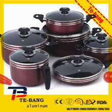 10pcs induction spraying plastics soup pot non-stick cookware sets kitchenware set cooking pot die casting aluminum cookware